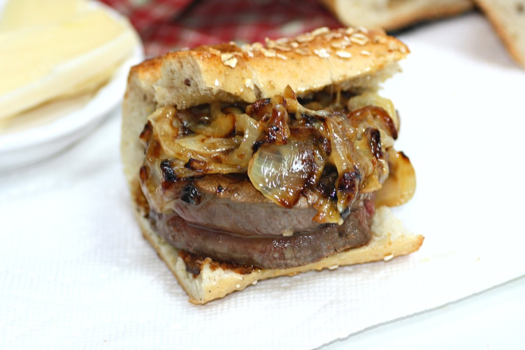 Filet Mignon Steak Sandwich With Caramelized Onions
