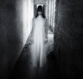 Ghostly girl in hallway representing demonic entities