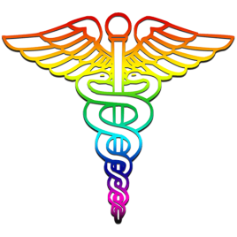 caduceus symbol in rainbow colors