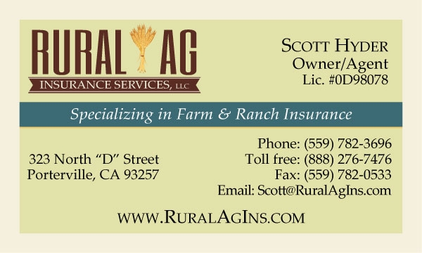 Rural Ag Insurance Services Business Card