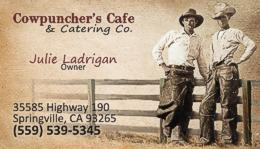 Cowpuncher's Cafe Business Card