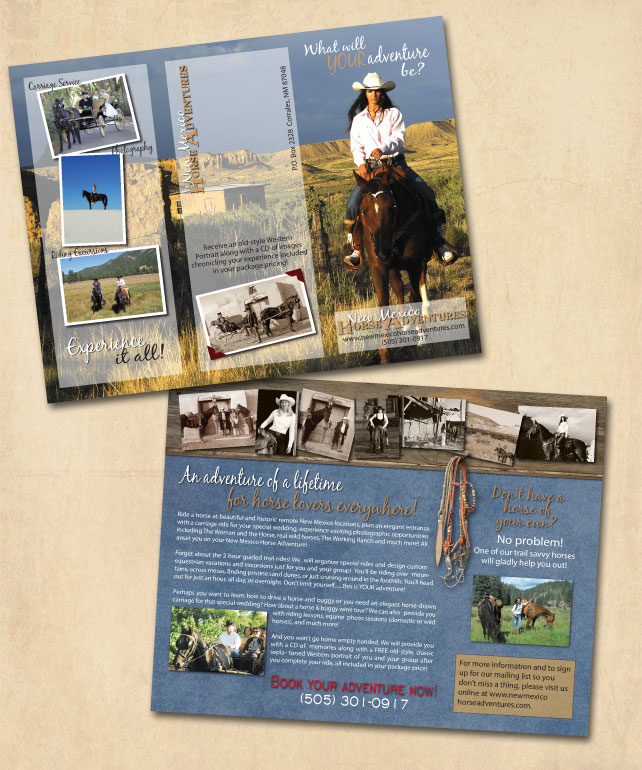 New Mexico Horse Adventures tri-fold brochure