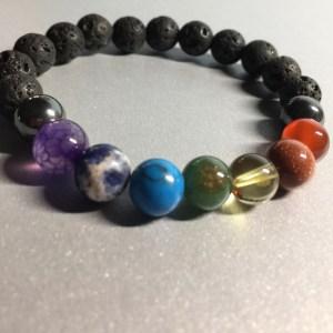 Chakra Balancing Bracelet – Lava Beads