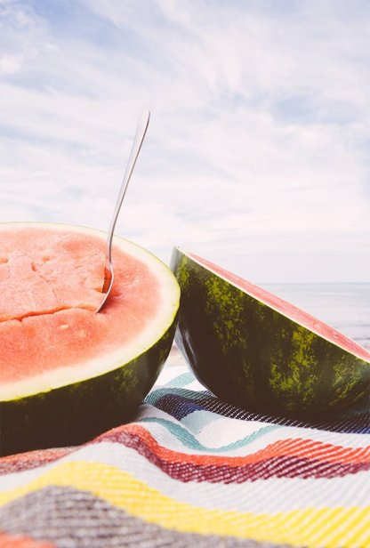 watermelon and spoon