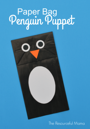 Paper Bag Penguin Puppet The Resourceful Mama