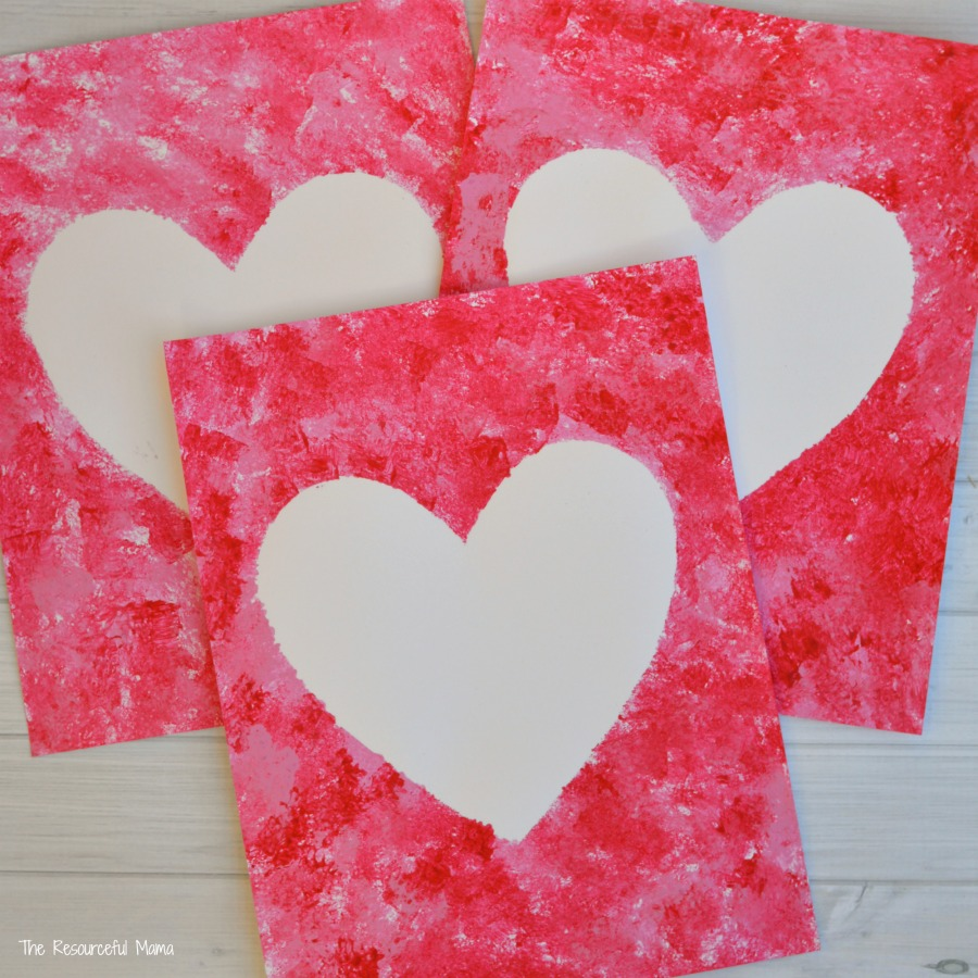 Sponge Painted Hearts Valentines Day Art Project The
