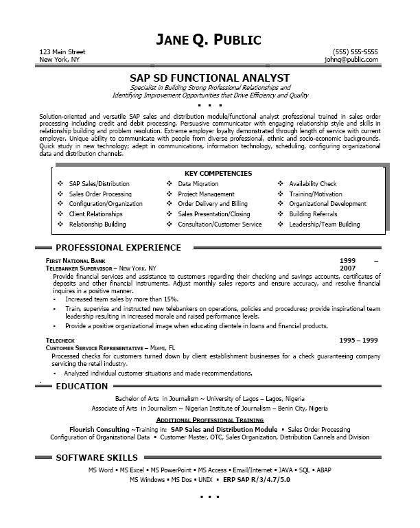 High Quality Sap Sample Resumes