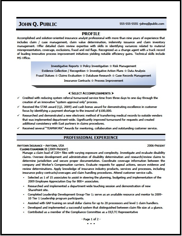 Claims Examiner Resume Sample