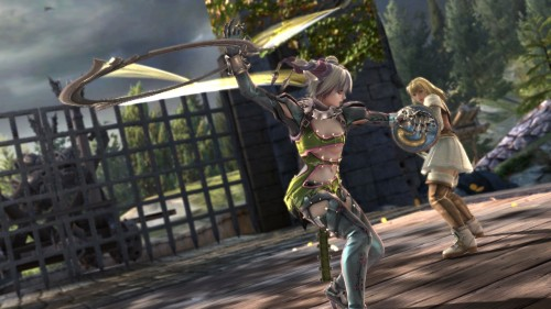 Tira swings her ringblade at Pyrrah
