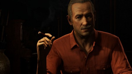 Cigar Smoking Victor Sullivan addresses the player