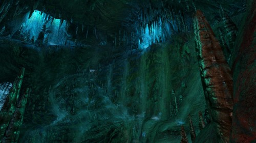 Water running down the inside of an overworldly cave