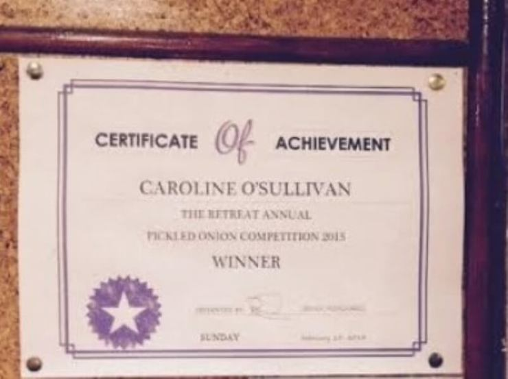 First place certificate for the Pickled Onion Contest held at The Retreat pub in Reading, 2015.