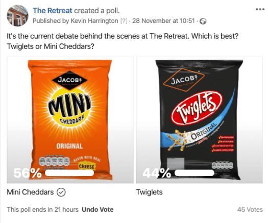 Mini Cheddars vs Twiglets, the Twitter  vote