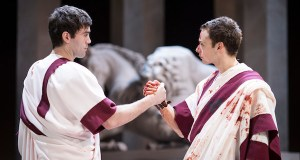 James-Corrigan-as-Mark Antony and Alex Waldman as Brutus in Julius Caesar
