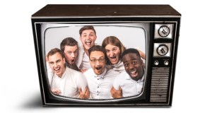 6 men inside a television box