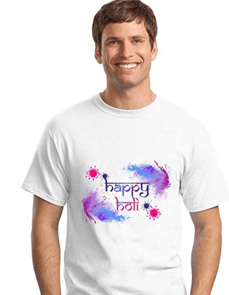 Half Sleeve Casual Printed Holi TShirt