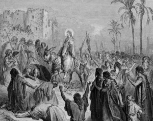 Circa 30 AD, Jesus Christ (00 - 33 AD) entering Jerusalem on a donkey. (Photo by Hulton Archive/Getty Images)