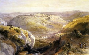 Jerusalem.View from the South from 'The Holy Land ' by David Roberts 1842. (Photo by Culture Club/Getty Images)