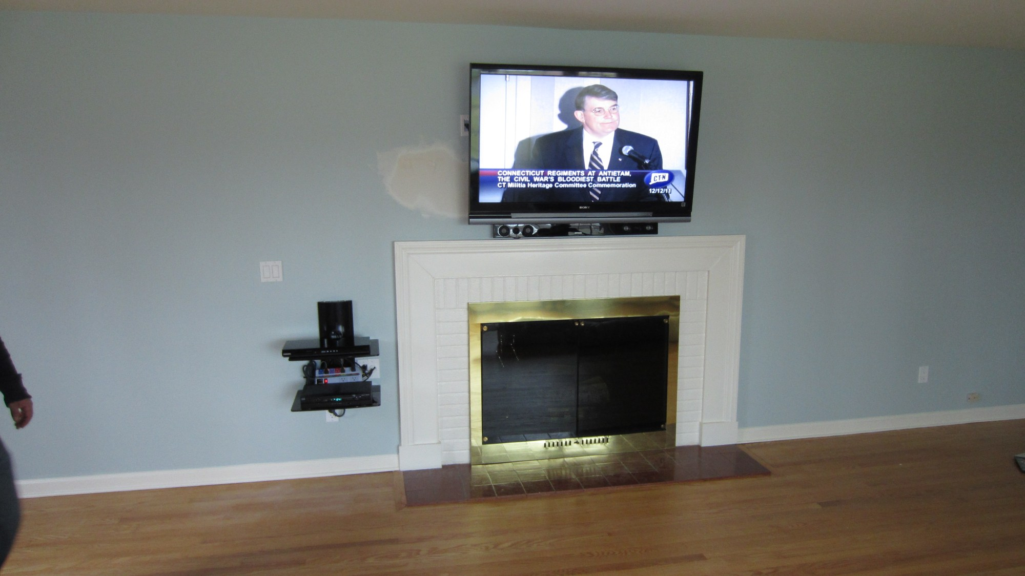hight resolution of new fairfield ct tv mounting over fireplace with on wall shelf and in wall wires 1