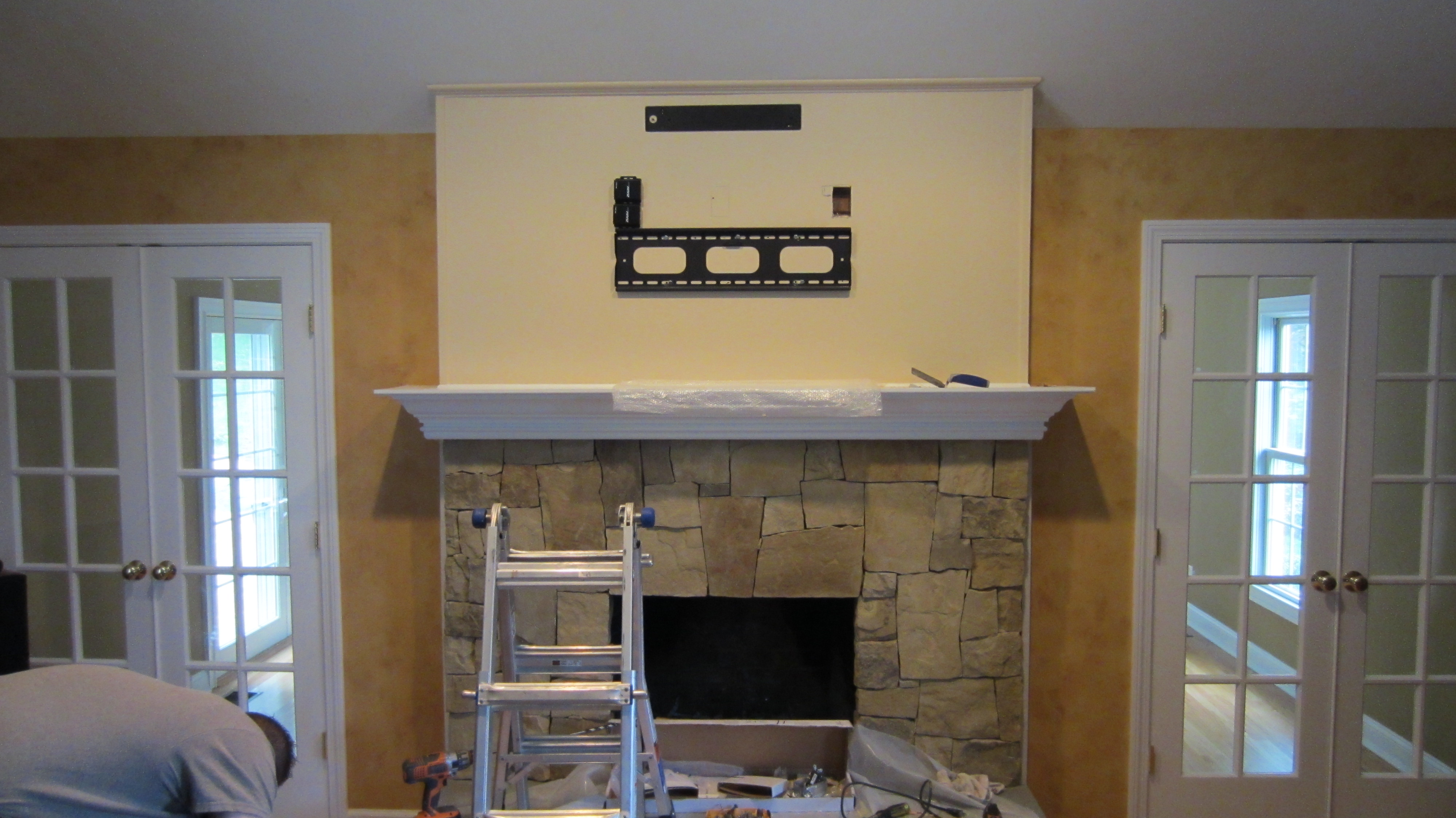 Woodbury CT  TV Install above fireplace  Home Theater Installation