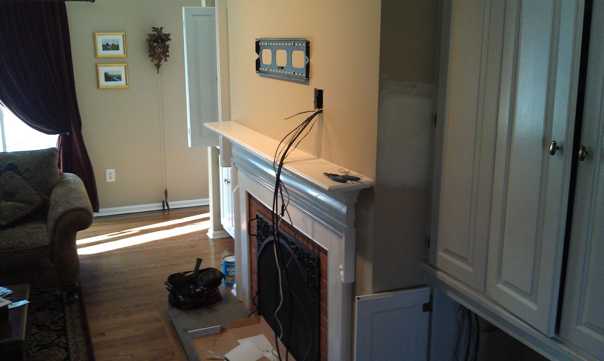 hight resolution of wallingford ct lg tv over fireplace with wires concealed and ir repeater kit 11