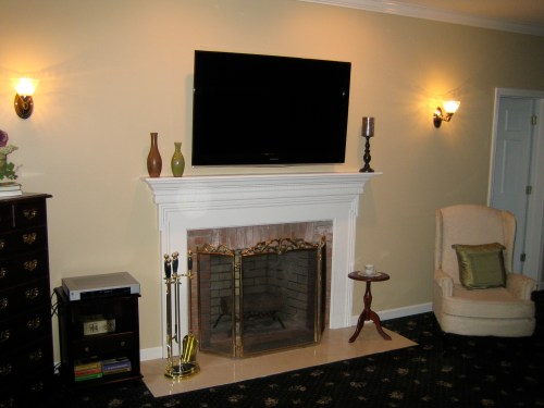 small resolution of clinton ct tv install above fireplace in wall wire concealment