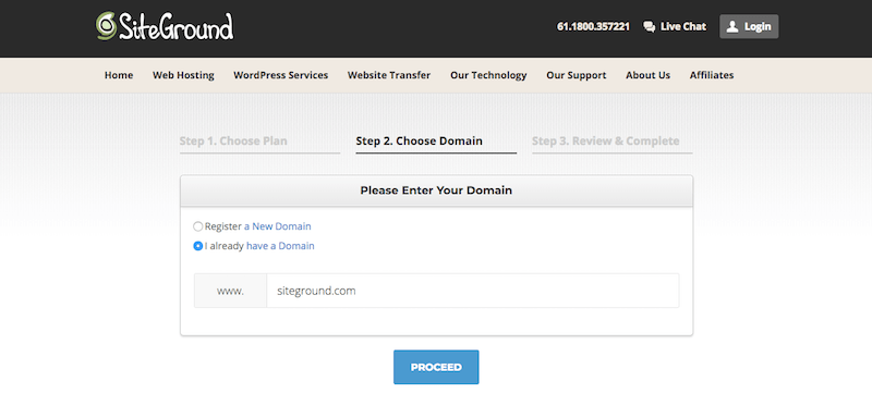 SiteGround sign up, second step of account creation.