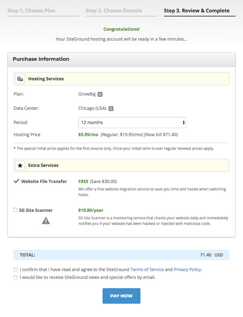 SiteGround sign up, third step of account creation.