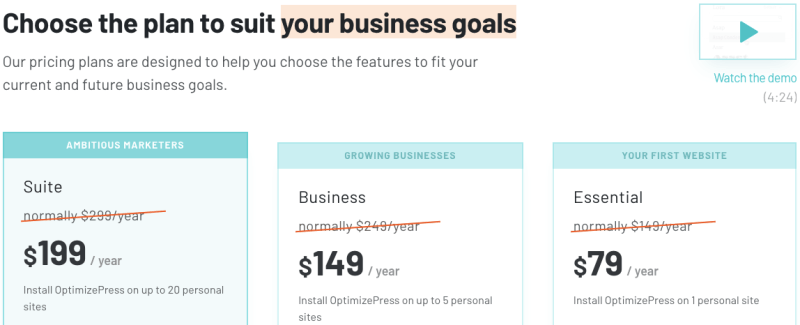 pricing options for OptimizePress 3.0