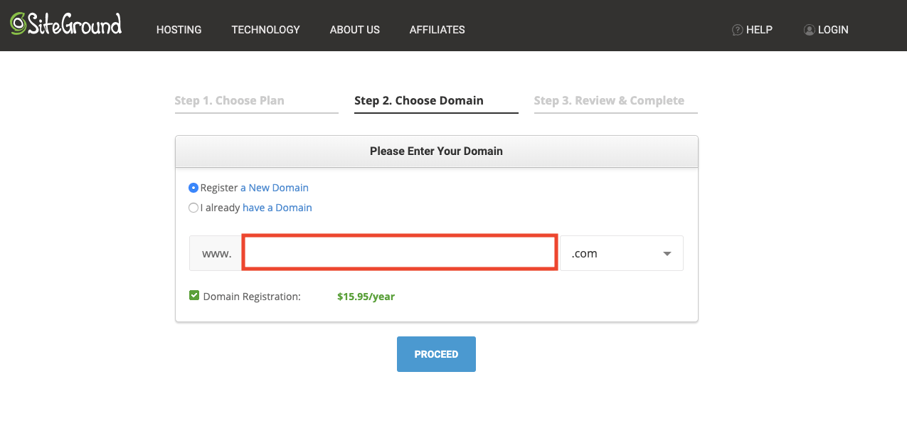 registering a domain on SiteGround