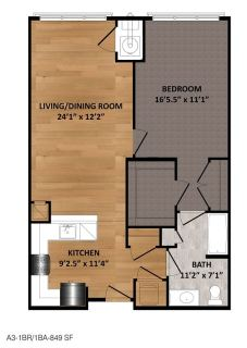 1 Bed / 1 Bath / 849 sq ft