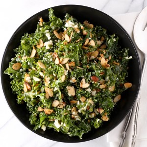 Kale Salad with Minced Egg and Spiced Almonds
