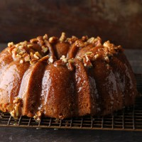 Apricot Spice Cake with Brown Sugar Pecan Glaze