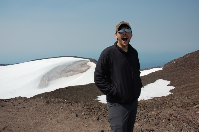 That's a big ol' glacier sitting on top of the volcano.