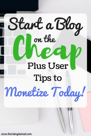 Start a Blog on the Cheap Plus Easy Tips to Monetize Today! The Rising Damsel #startablog #girlboss #blogger #blog #monetize #wah #wahm #mommyblogger #makemoney