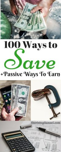 100 Ways to Save Money everyday. I save $500 a month! Plus learn how to earn a passive income. The Rising Damsel #passiveincome #blogger #save #earn #savings #finances #tips #100waystosave