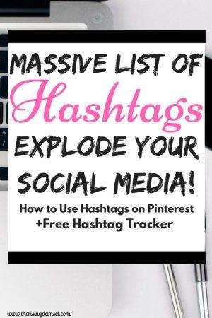 Massive List Of Hashtags. Now use hashtags on Pinterest! #socialmedia #blog #blogger #growth #tricks #tips #pinterest