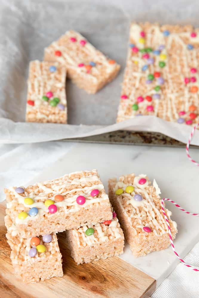 White Chocolate Rice Bubble Slice