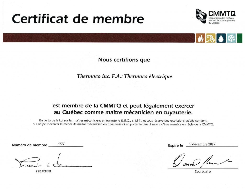 License CMMTQ thermoco