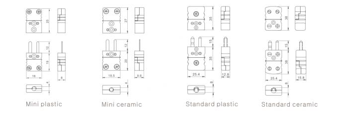 K / J type Flat Pin Mini OMEGA Thermocouple Connectors