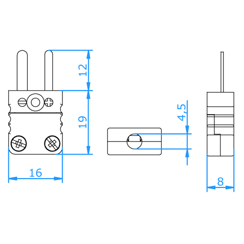 FMPH-K Type K Miniature High Temperature Thermocouple Plug