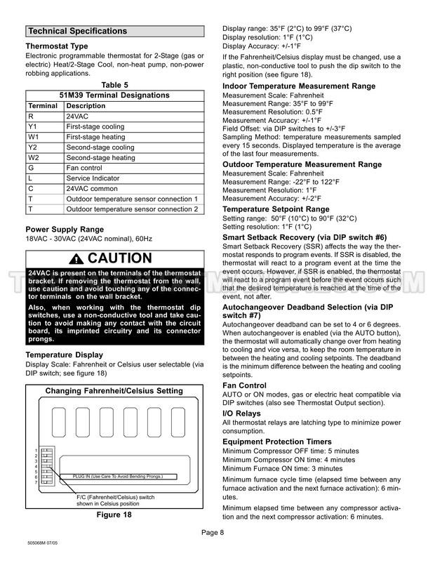 Lennox 51M39 Thermostat Operation Manual