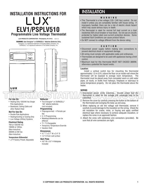 LUX ELV1 Installation Instructions