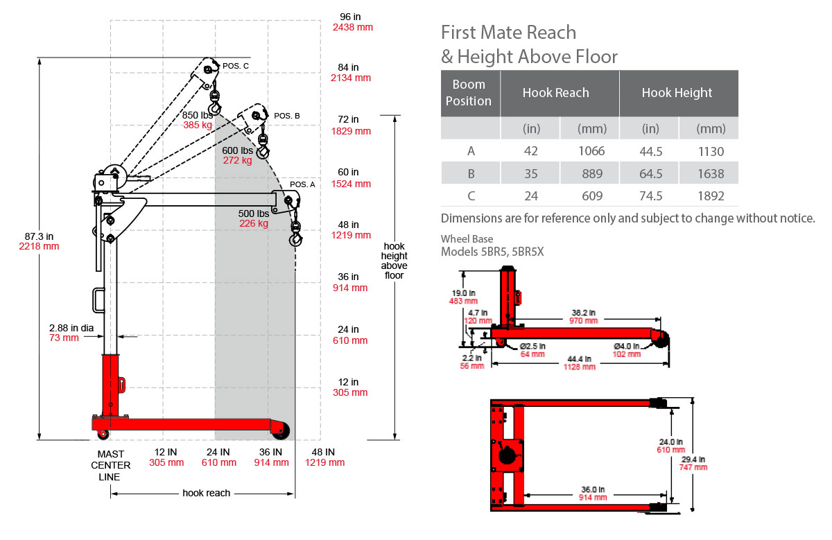 hight resolution of crane dimensions with roller base