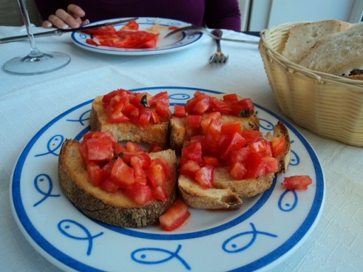 Bruschetta with tomatoes in Sorrento, Italy