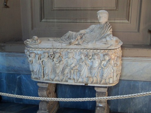 a sarcophagus in the Vatican Museum