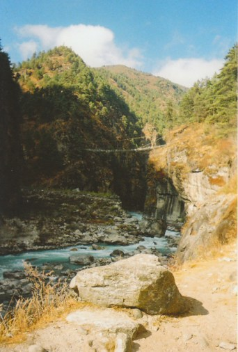 Bridge over the Dudh Kosi River on the trek to Everest Base camp