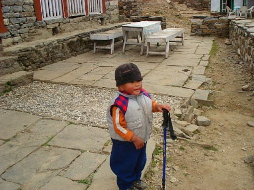 Little local boy on the trek to Mt Everest Base Camp