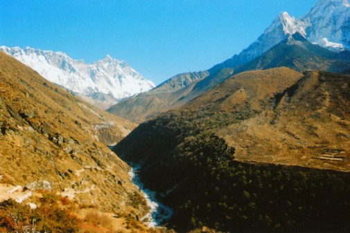 Dudh Kosi River valley on the trek to Mount Everest, Nepal
