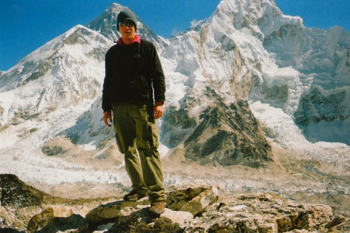 Standing in front of Mount Everest